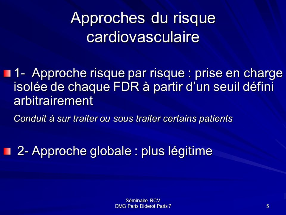 Approches du risque cardiovasculaire