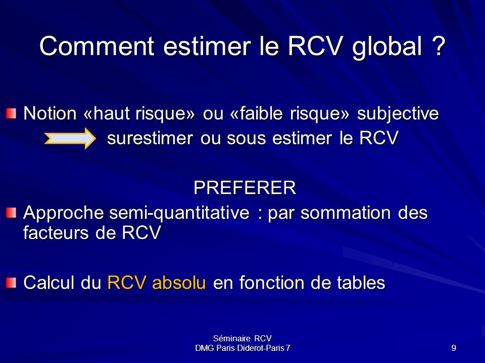 Comment estimer le RCV global