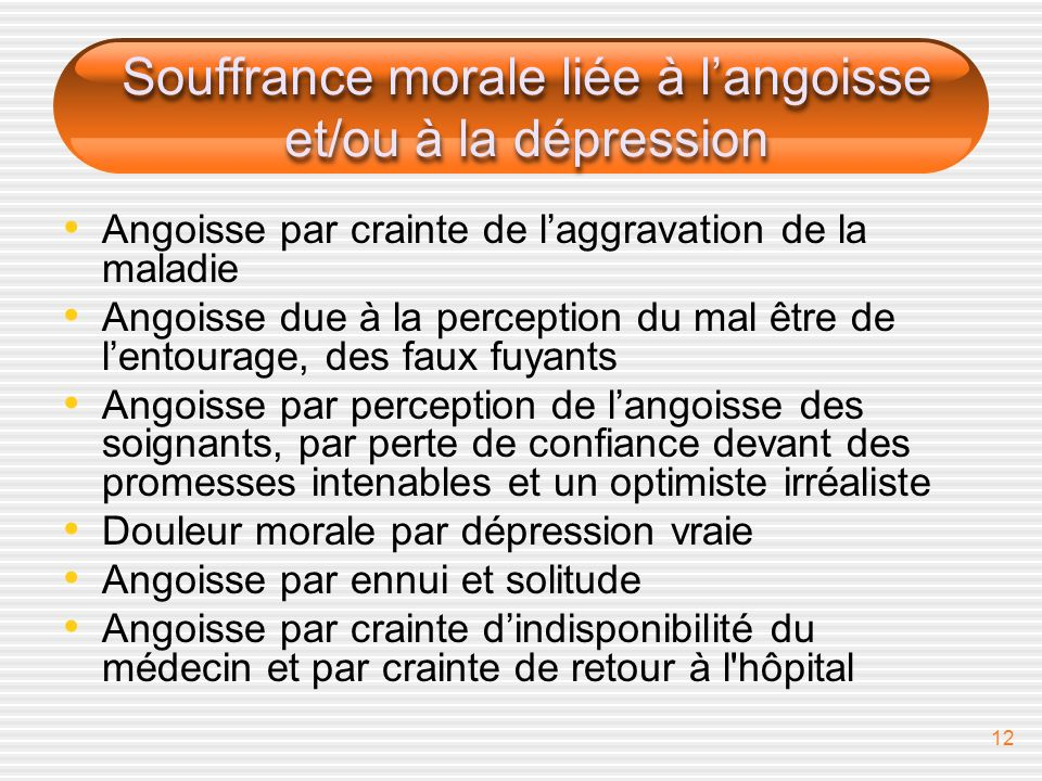 Souffrance morale liée à l'angoisse et/ou à la dépression