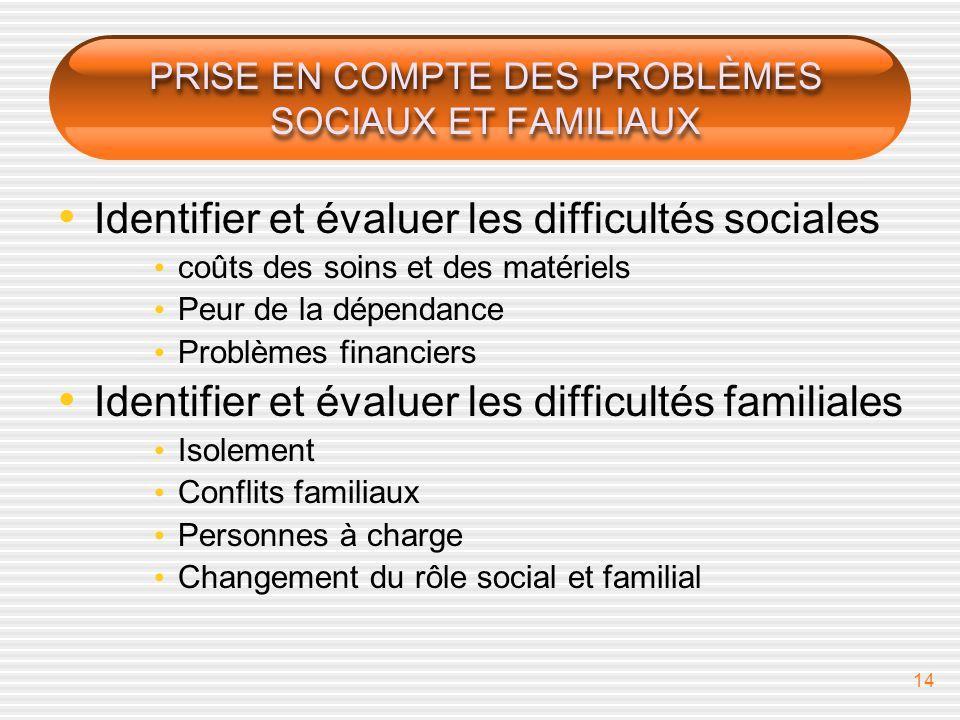 PRISE EN COMPTE DES PROBLÈMES SOCIAUX ET FAMILIAUX