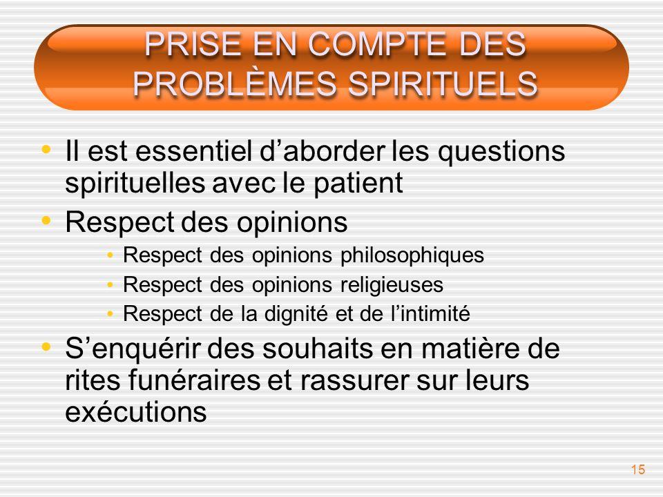 PRISE EN COMPTE DES PROBLÈMES SPIRITUELS