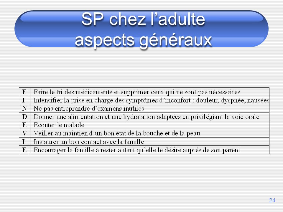 SP chez l'adulte aspects généraux