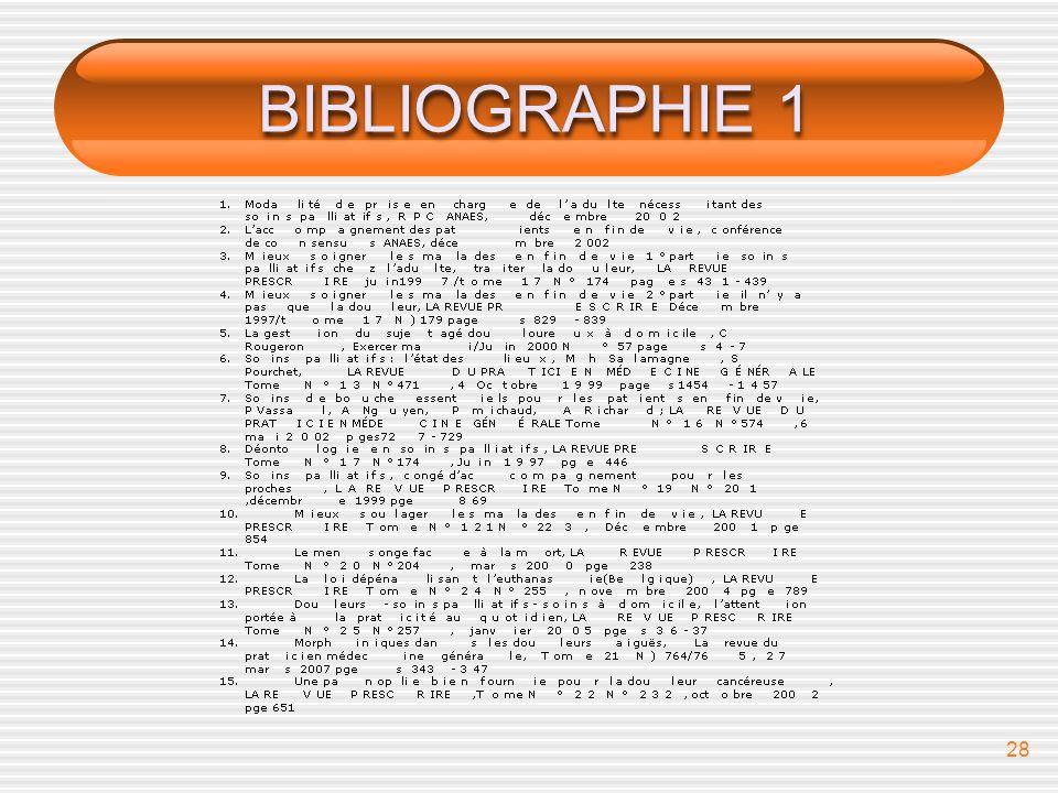 BIBLIOGRAPHIE 1 bibliographie
