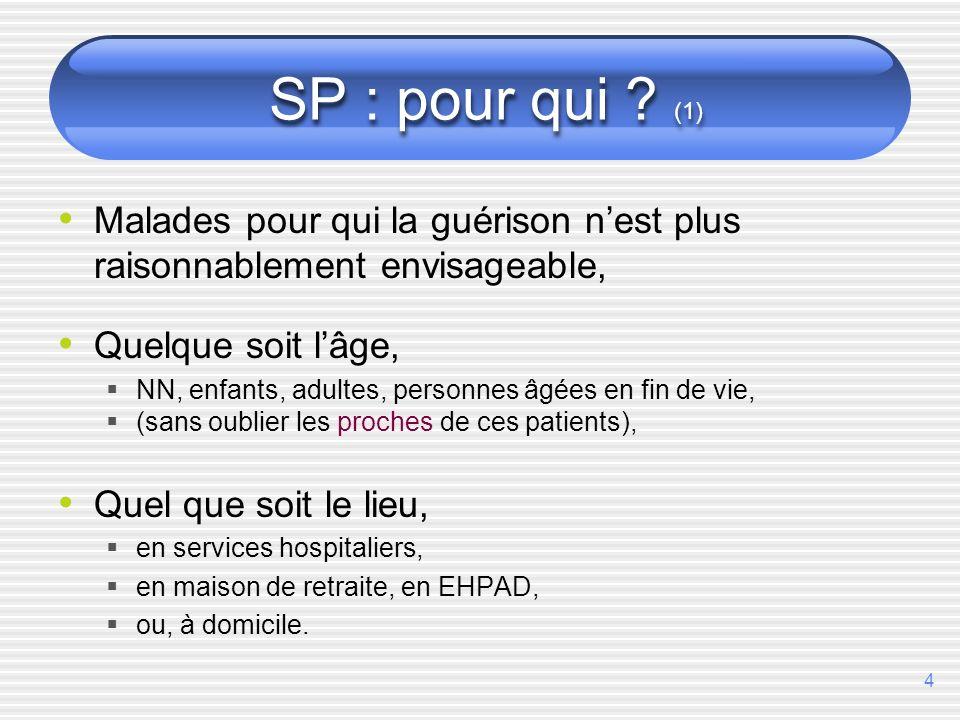 SP : pour qui (1) Malades pour qui la guérison n'est plus raisonnablement envisageable, Quelque soit l'âge,
