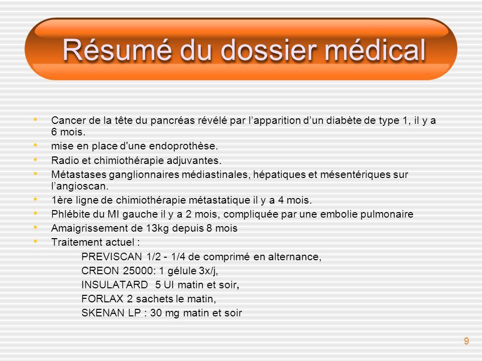 Résumé du dossier médical