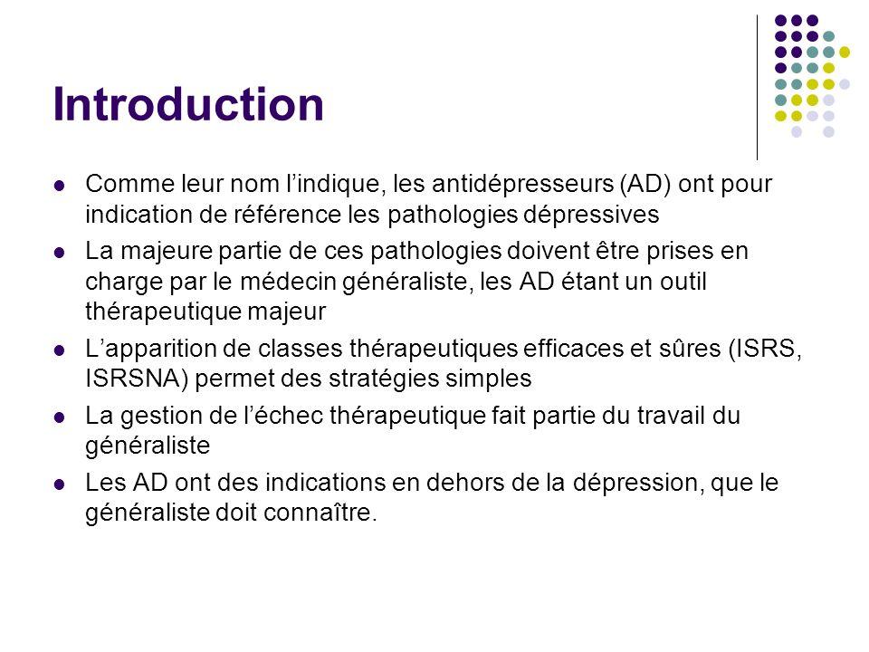 IntroductionComme leur nom l'indique, les antidépresseurs (AD) ont pour indication de référence les pathologies dépressives.