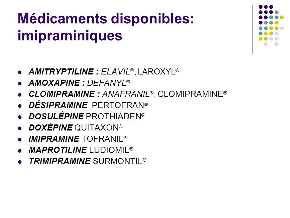 Médicaments disponibles: imipraminiques