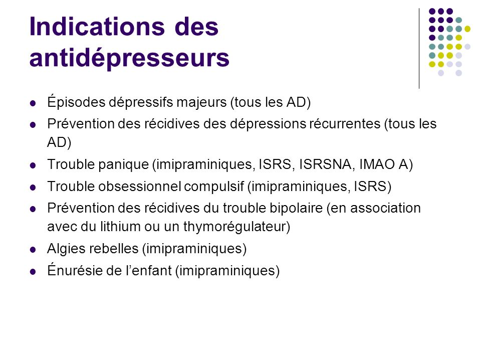 Indications des antidépresseurs