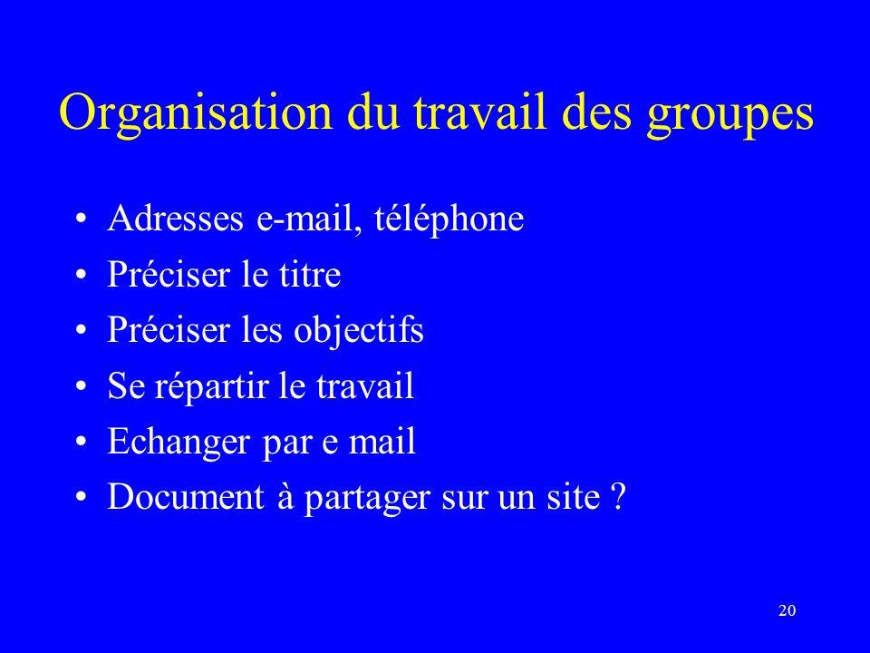 Organisation du travail des groupes