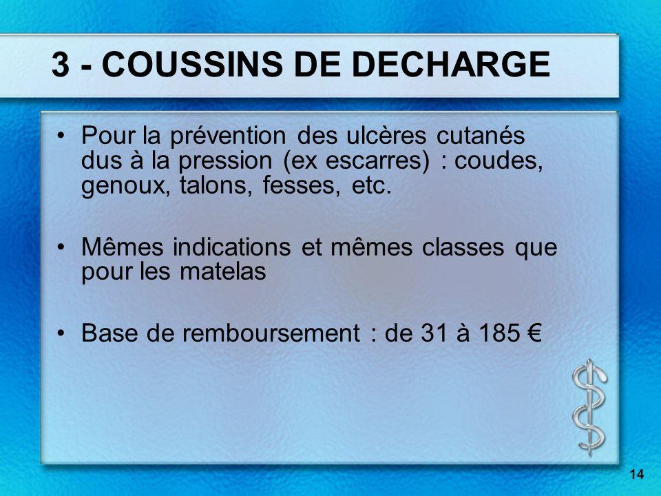 3 - COUSSINS DE DECHARGEPour la prévention des ulcères cutanés dus à la pression (ex escarres) : coudes, genoux, talons, fesses, etc.