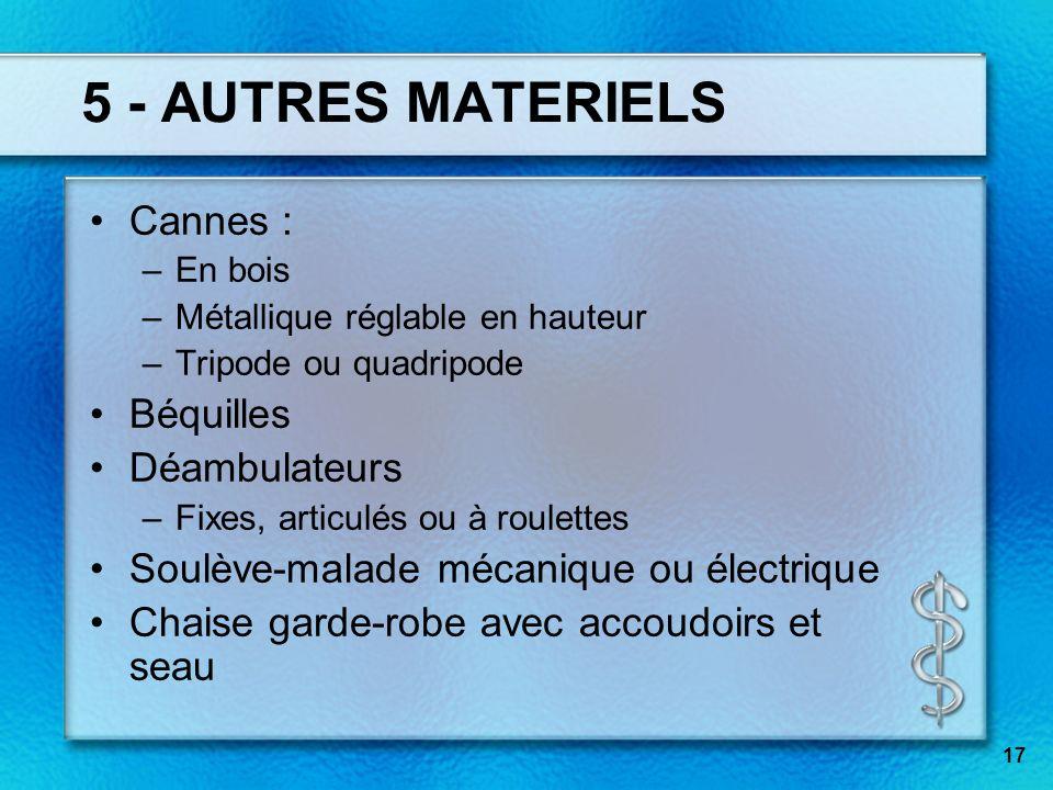 5 - AUTRES MATERIELS Cannes : Béquilles Déambulateurs