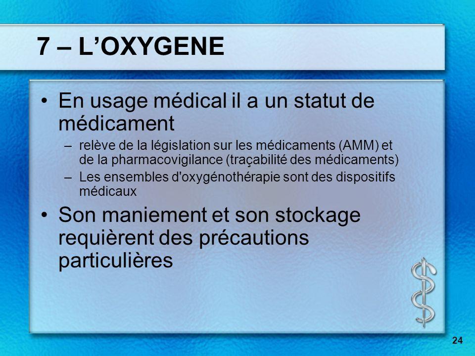 7 – L'OXYGENE En usage médical il a un statut de médicament