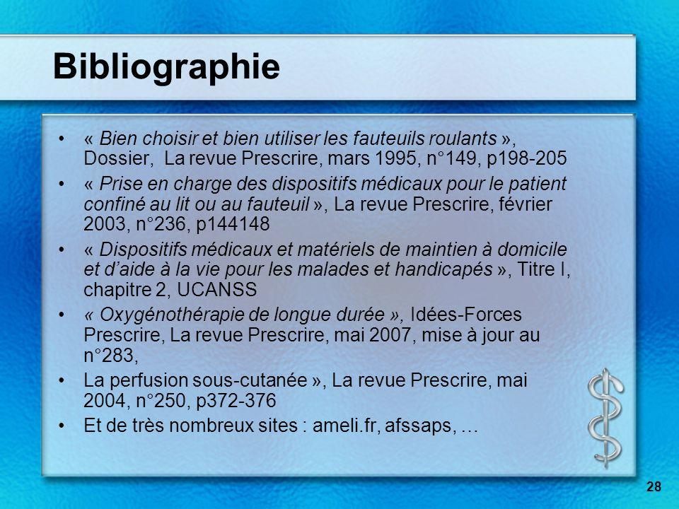 Bibliographie « Bien choisir et bien utiliser les fauteuils roulants », Dossier, La revue Prescrire, mars 1995, n°149, p198-205.