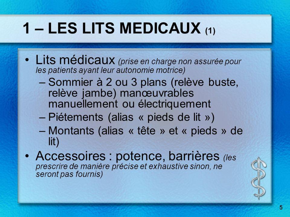 1 – LES LITS MEDICAUX (1) Lits médicaux (prise en charge non assurée pour les patients ayant leur autonomie motrice)