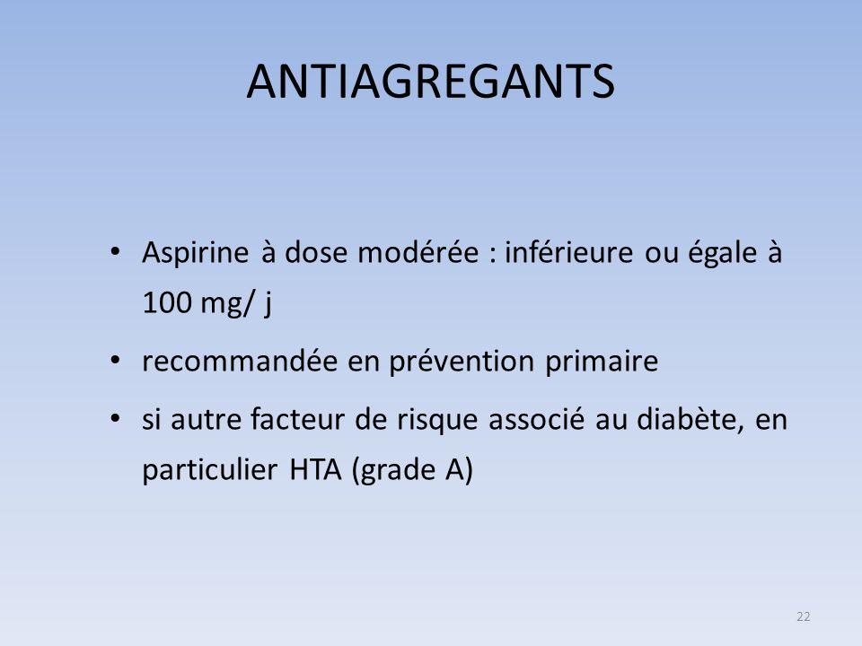 ANTIAGREGANTS Aspirine à dose modérée : inférieure ou égale à 100 mg/ j. recommandée en prévention primaire.