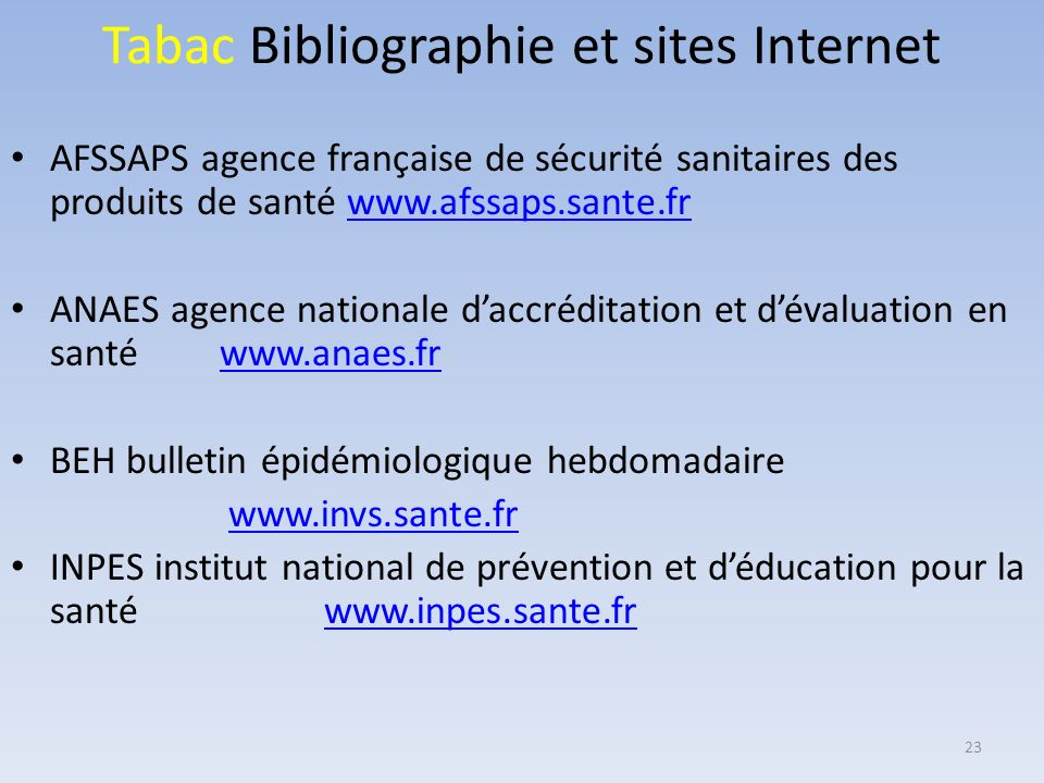 Tabac Bibliographie et sites Internet