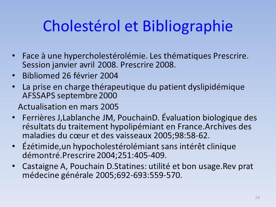 Cholestérol et Bibliographie
