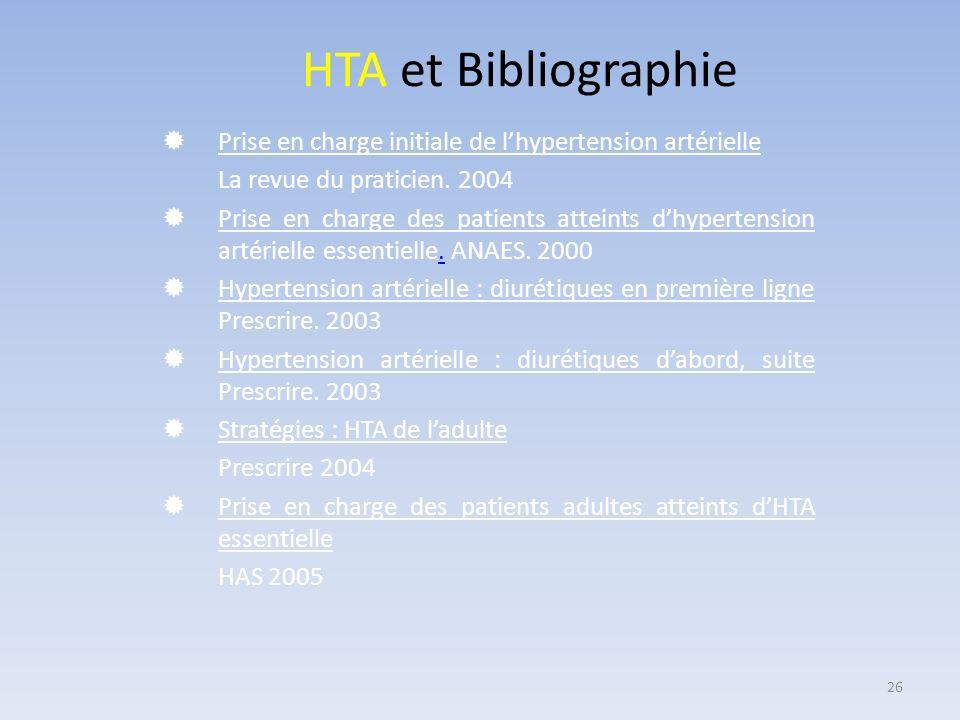 HTA et Bibliographie Prise en charge initiale de l'hypertension artérielle. La revue du praticien. 2004.
