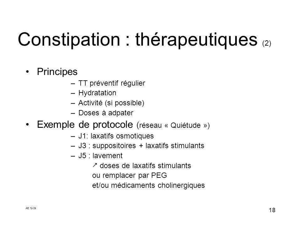 Constipation : thérapeutiques (2)