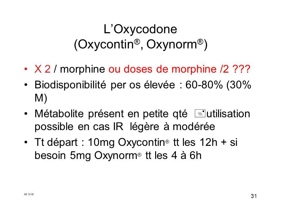 L'Oxycodone (Oxycontin®, Oxynorm®)
