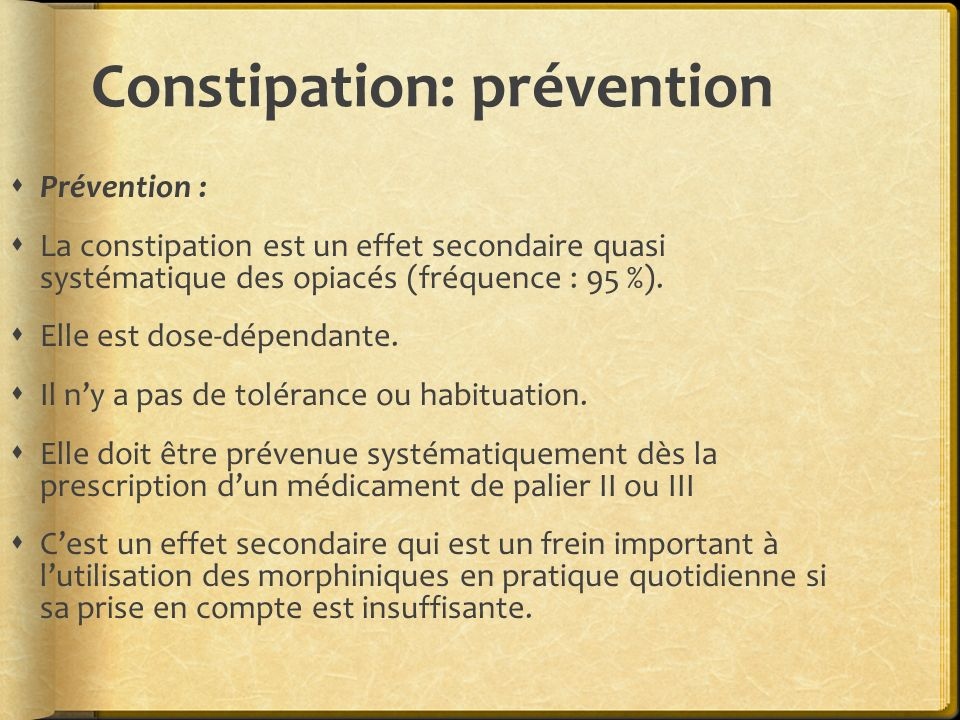 Constipation: prévention