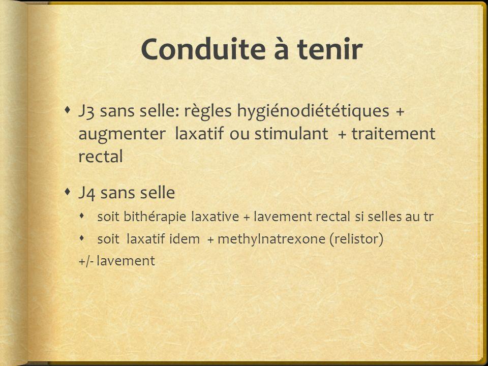 Conduite à tenir J3 sans selle: règles hygiénodiététiques + augmenter laxatif ou stimulant + traitement rectal.