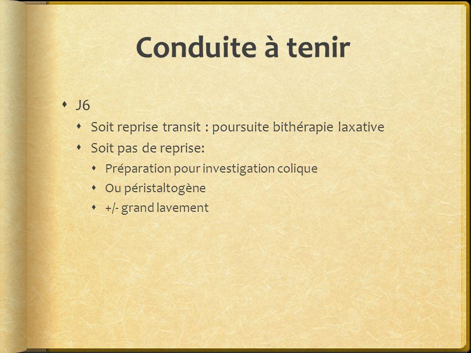 Conduite à tenir J6. Soit reprise transit : poursuite bithérapie laxative. Soit pas de reprise: Préparation pour investigation colique.