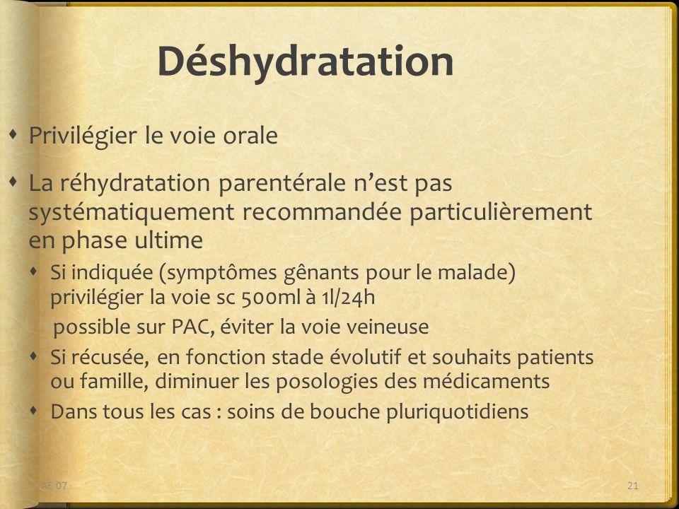 Déshydratation Privilégier le voie orale