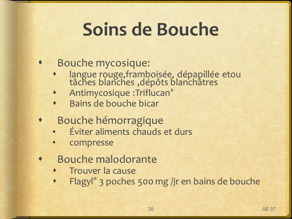 Soins de Bouche Bouche mycosique: Bouche hémorragique