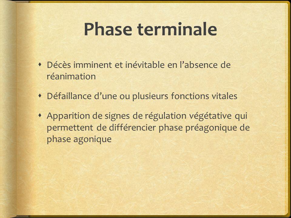 Phase terminale Décès imminent et inévitable en l'absence de réanimation. Défaillance d'une ou plusieurs fonctions vitales.