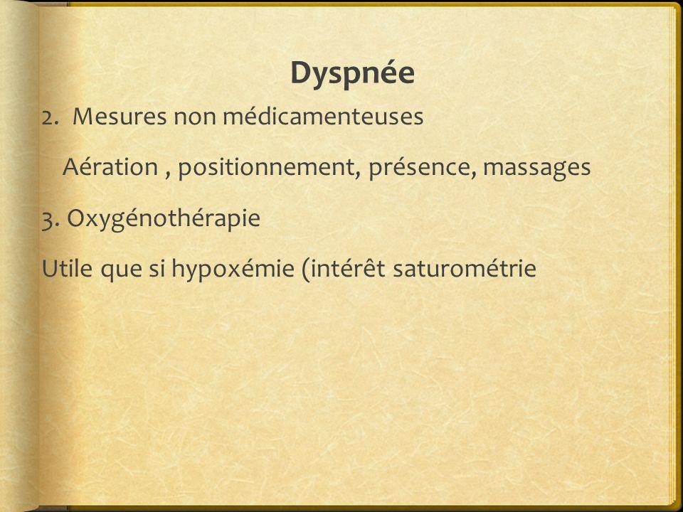 Dyspnée2.Mesures non médicamenteuses Aération , positionnement, présence, massages 3.