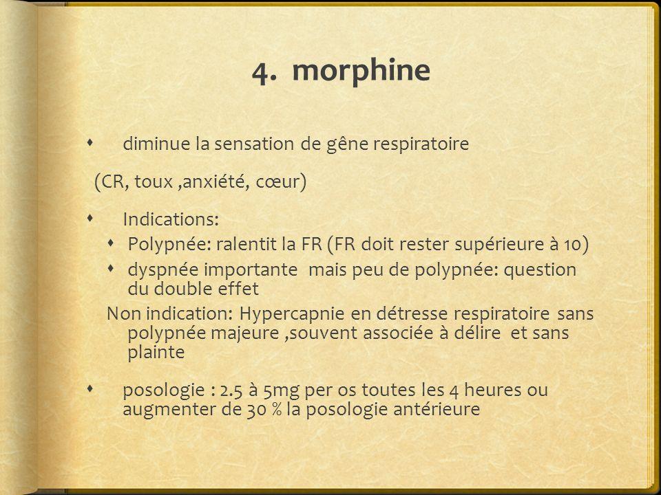 4. morphine diminue la sensation de gêne respiratoire