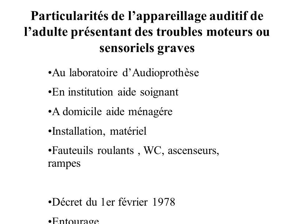 Particularités de l'appareillage auditif de l'adulte présentant des troubles moteurs ou sensoriels graves