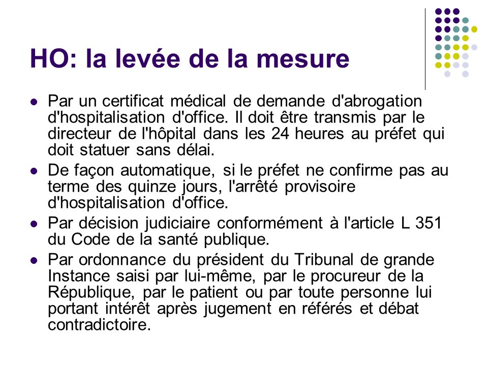 La loi hospitalisation sous contrainte aah ppt t l charger - Procedure hospitalisation d office ...
