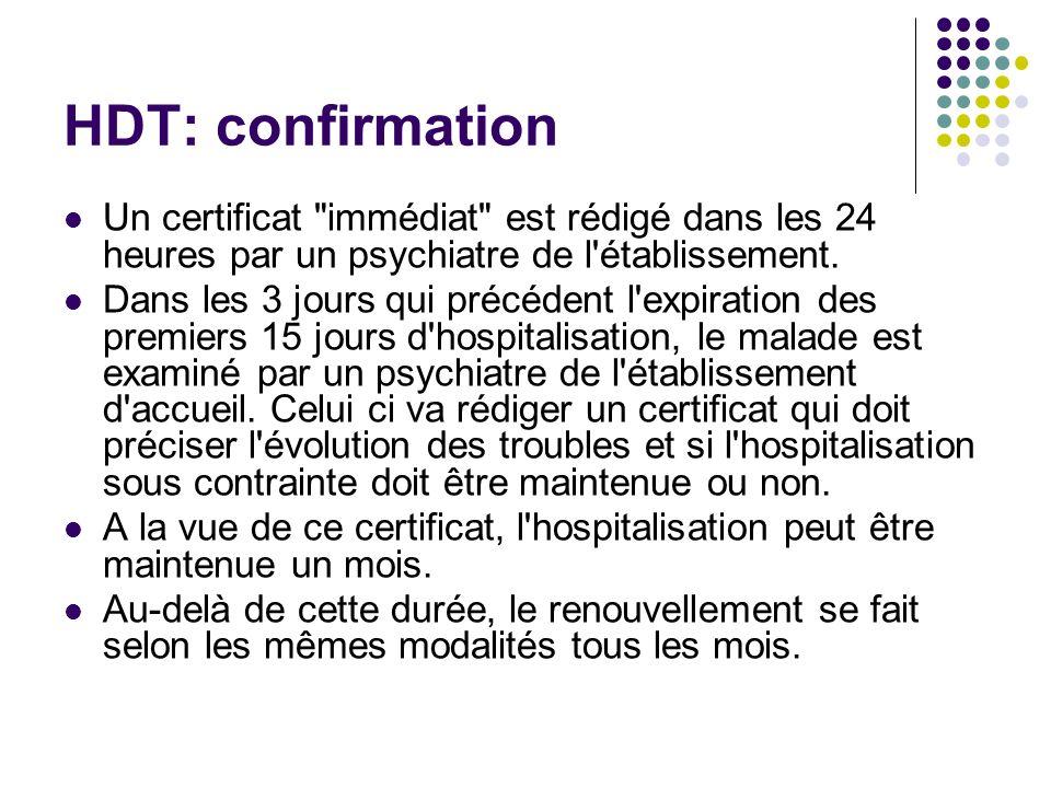 HDT: confirmationUn certificat immédiat est rédigé dans les 24 heures par un psychiatre de l établissement.