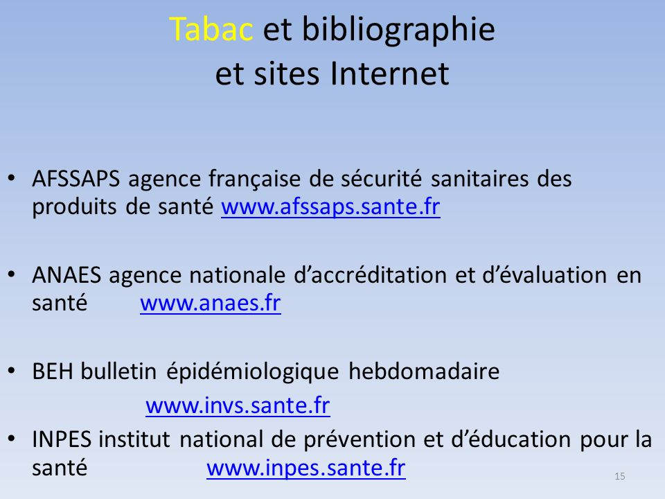 Tabac et bibliographie et sites Internet
