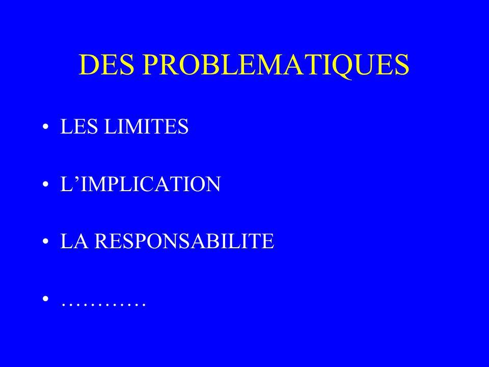 DES PROBLEMATIQUES LES LIMITES L'IMPLICATION LA RESPONSABILITE …………