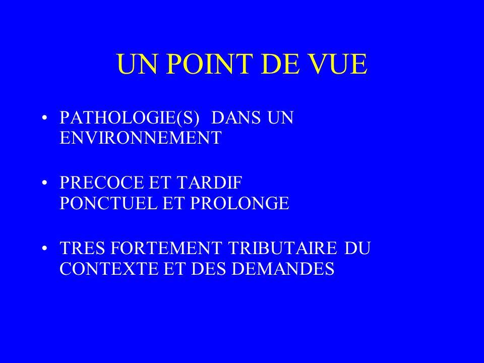 UN POINT DE VUE PATHOLOGIE(S) DANS UN ENVIRONNEMENT