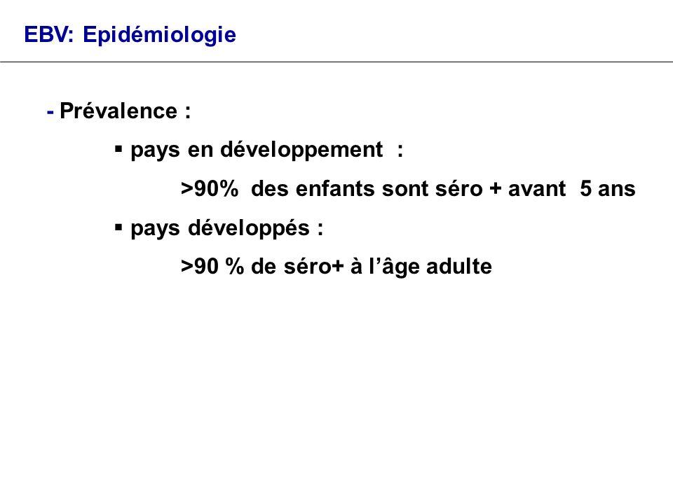 EBV: Epidémiologie - Prévalence : pays en développement : >90% des enfants sont séro + avant 5 ans.