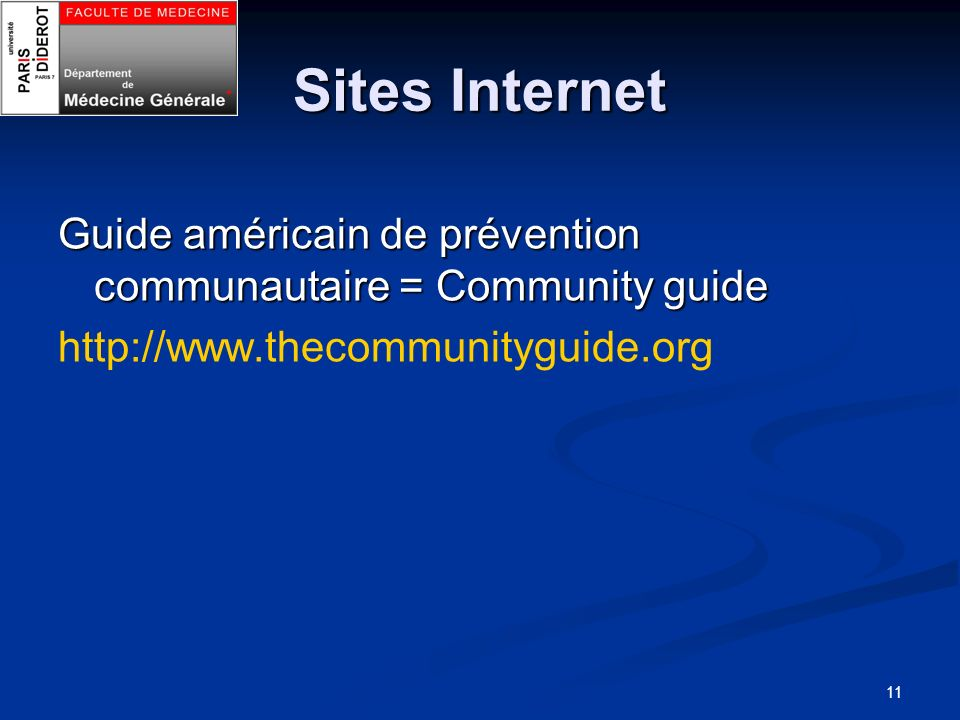 Sites Internet Guide américain de prévention communautaire = Community guide.