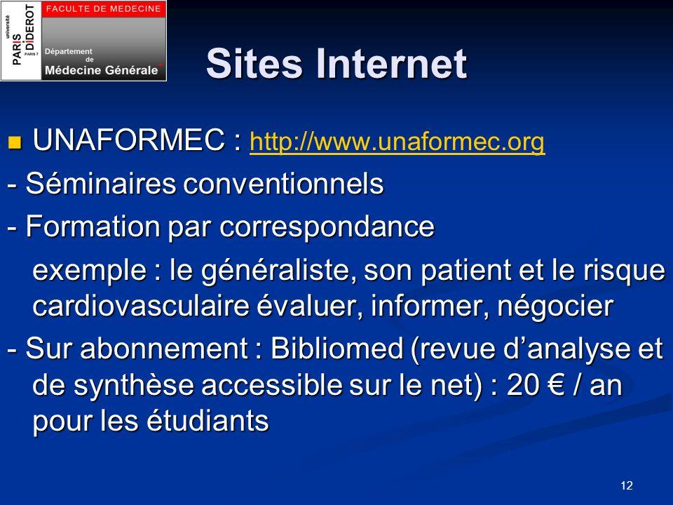 Sites Internet UNAFORMEC : http://www.unaformec.org