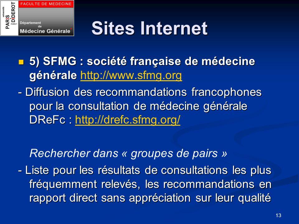Sites Internet 5) SFMG : société française de médecine générale http://www.sfmg.org.