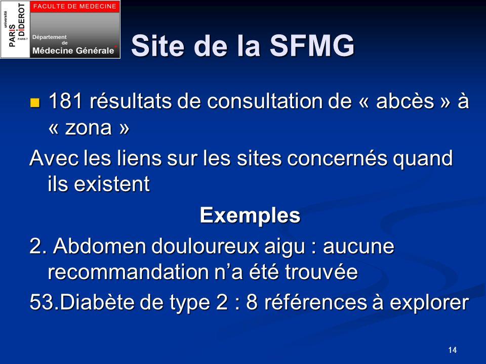 Site de la SFMG 181 résultats de consultation de « abcès » à « zona »
