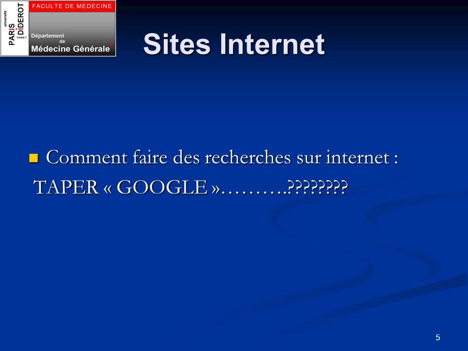 Sites Internet Comment faire des recherches sur internet :