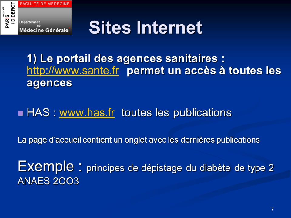 Sites Internet Exemple : principes de dépistage du diabète de type 2