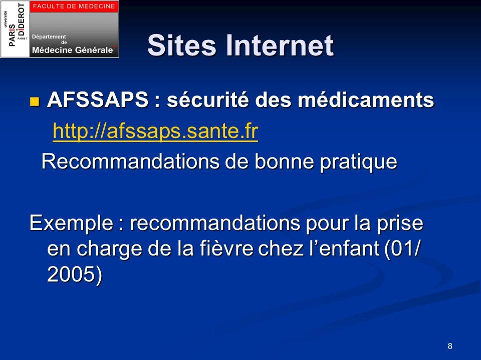 Sites Internet AFSSAPS : sécurité des médicaments