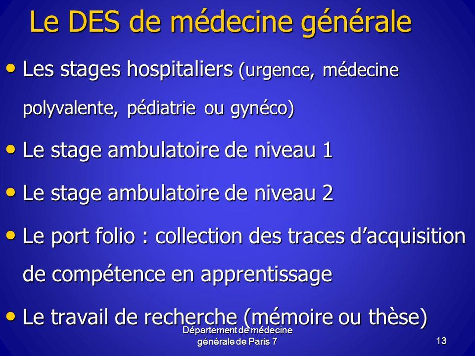 Le DES de médecine générale