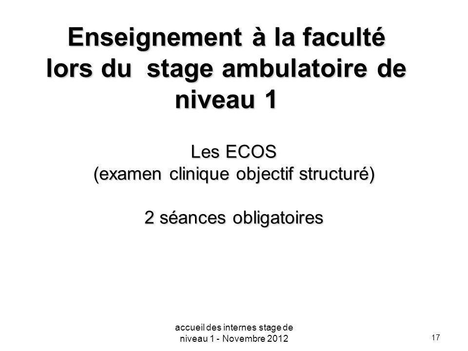 Enseignement à la faculté lors du stage ambulatoire de niveau 1
