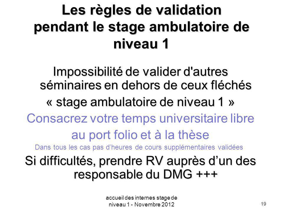Les règles de validation pendant le stage ambulatoire de niveau 1