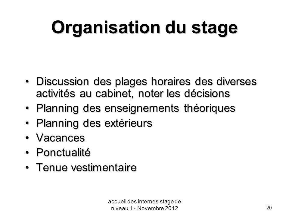 accueil des internes stage de niveau 1 - Novembre 2012